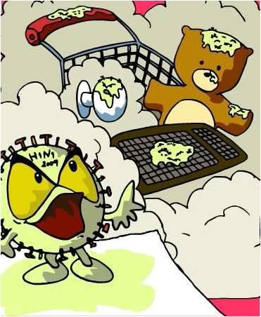 Virus da gripe A em carrinhos de supermercado, maçanetas, brinquedos e computador