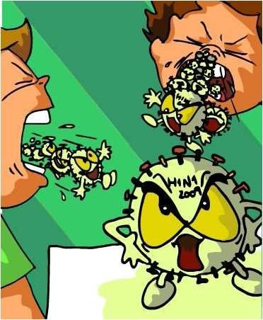 Virus da gripe H1N1 a sair da boca das crianças